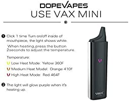 Vax Mini Dry Herb Vaporizer by Dopevapes, 3000mAh Battery, 3 Temp Settings,  1g Steel Chamber, Advanced Battery and Temperature Indication Light, Ultra