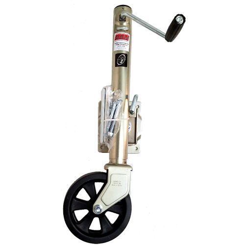 1,500 lbs. capacity RAM side wind bolt-on swivel trailer jack zinc coated with 8'' caster.