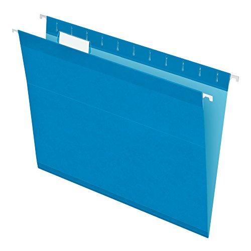 Pendaflex Reinforced Hanging File Folders, Letter Size, Blue, 1/5 Cut, 25/BX (4152 1/5 BLU)