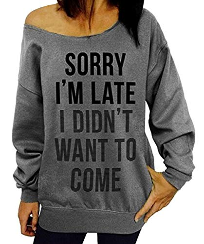 Dutebare Women Long Sleeve Sweatshirt Off Shoulder Tops Slouchy Pullover Shirt Grey c 3XL