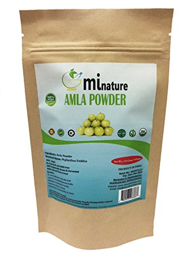 mi nature USDA CERTIFIED Organic Amla Powder(EMBLICA OFFICINALIS) / 100% Pure, Natural and Organic (114g / (4 ounces) - OXO/BIODEGRADABLE Resealable Zip Lock Pouch