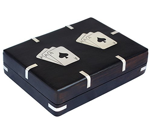(Double Playing Card Box Handcrafted Wooden Black Case - Wooden Playing Card Holder | Rack | Organizer)