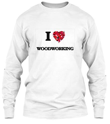 I Love Woodworking XL - White Long Sleeve Tshirt - Gildan 6.1oz Long Sleeve Tee