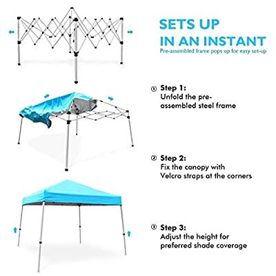 Ohuhu EZ Pop-Up Slant Leg Canopy Tent with Weight Bags, 10 X 10 FT Reinforced Steel Frame Commercial Instant Shelter with 3 Adjustable Heights, Lightweight Durable Canopy with Wheeled Carry Bag, Blue : Garden & Outdoor