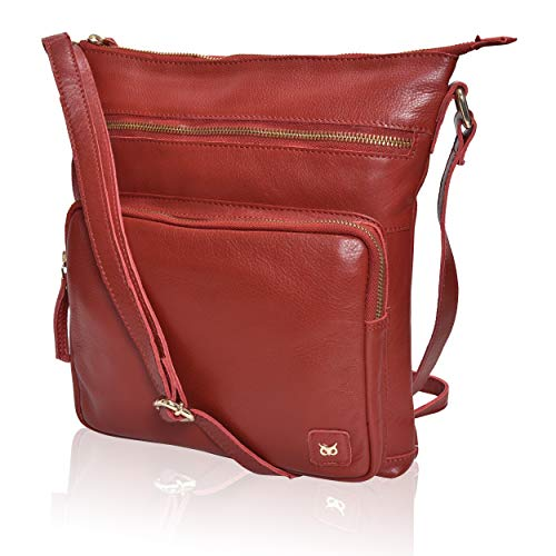 WISE OWL Women's Leather Crossbody Purses and Handbags for-Premium Crossover Bag Over the Shoulders Red