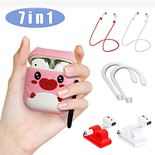Skin Slicone - Airpods Case, Woocon Airpods Accessories Set, 7 in 1 3D Cute Cartoon Pink Piglet Slicone Girls Kids Protective Cover Case with Airpods Ear Hook Grips/Skin/Grips (McDull)