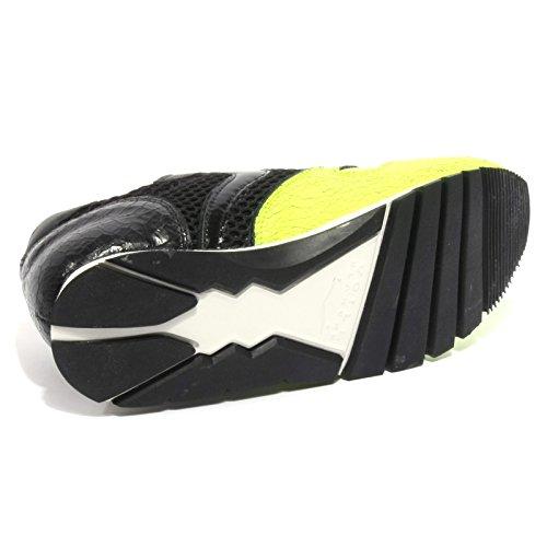 Julia Giallo Fluo Voile nero Blanche Crack Sneakers Basse Donna qS6w7If
