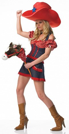 ostume 2Pc Cowgirl Denim Outfit (Red/Navy;Small) (Avenue Denim Skirt)