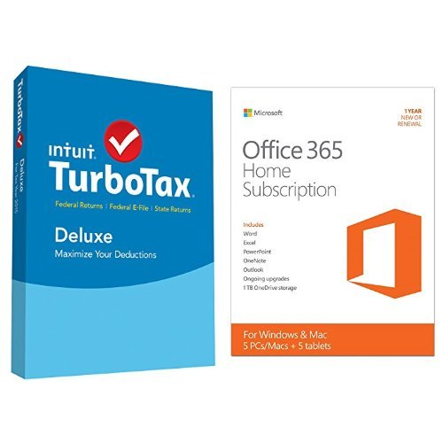 TurboTax Deluxe 2015 Federal + State Taxes + Fed Efile Tax Preparation Software - PC/MacDisc with Microsoft Office 365 Home 1 Year | 5 PC or 5 Mac Key Card