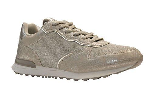 664cb59a7857 Claudia Ghizzani Damen Glitzer Metallic Sneaker Sportschuhe Profilsohle,  055-265 Silber