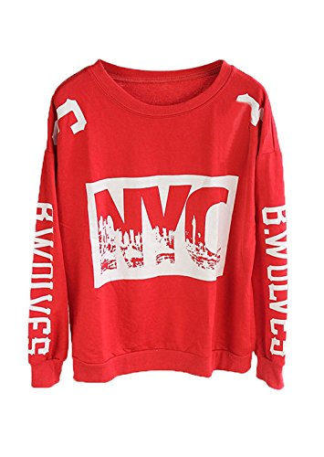 Benjour Women's Fashion NYC Letter Print Thicken Loose Sweatshirt X-Large, Red