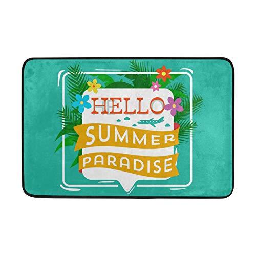 LEISISI Hello Summer Doormat for indoor outdoor Entry Way Non-slip Mat 23.6x15.7 inch -