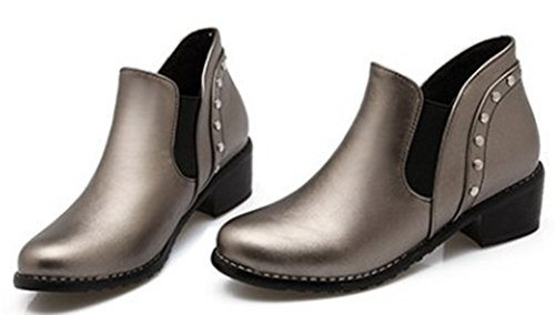 IDIFU Women's Dressy Studded Mid Chunky Heels Slip On Short Martin Boots Oxfords Booties