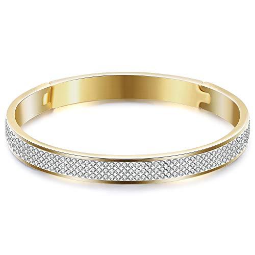 VQYSKO Stainless Steel Rhinestone Crystal Wedding Bridal Bracelets Women (Gold)
