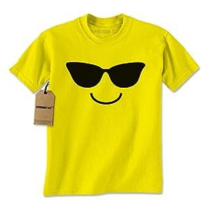 Expression Tees Mens Emoticon Sunglasses T-Shirt Small Yellow
