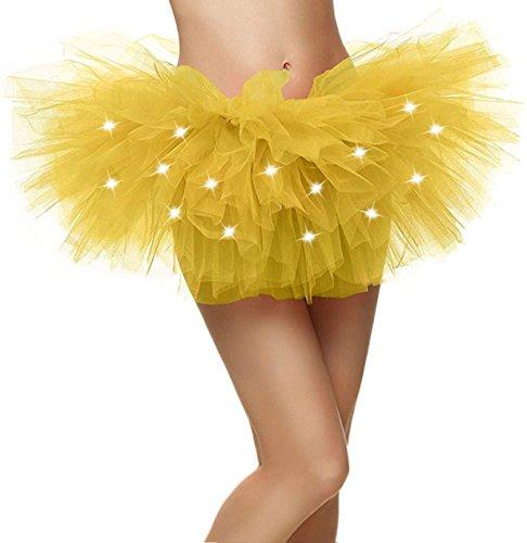 Dress Neon Yellow (Yellow Tutu Women's LED Light Up Neon Tulle Tutu Stage Show Club)