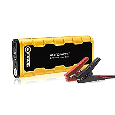 AUTO-VOX Portable Car Jump Starter 600A Peak 18000mAh (Up to 7.5L Gas and 6.5L Diesel Engine) Emergency Kit Battery Booster Power Bank with LED Lights & Multiple Slots, Working Well with Compressor