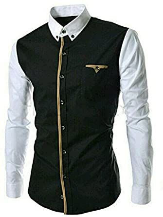 Pearl Ocean Men's Satin Shirt(BLACK AND WHITE SHIRT_Black_Large ...