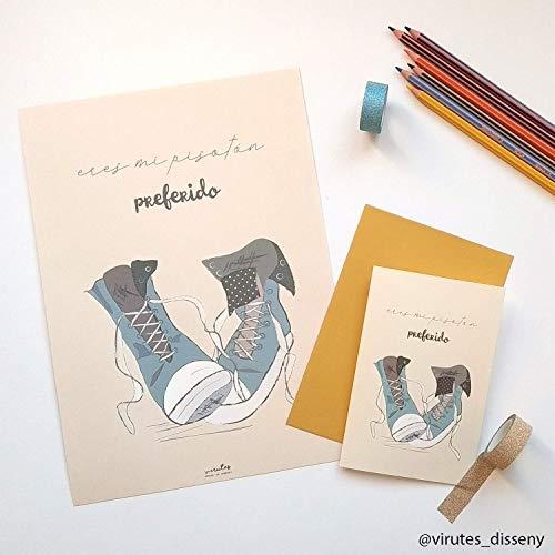 Pack regalo de lámina ilustrada y tarjeta, lámina ilustrada ...