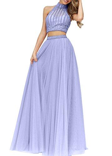 Abendkleider Tuell Prinzess Linie A Rock Zweiteilig Abschlussballkleider Lilac Langes Charmant Damen Abiballkleider 0t4HIw