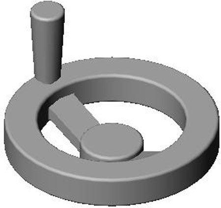 18.00'' Dia. X 4.88'', 3 15/16'' Lg. Handle, 2 Spoke, 319 Aluminum, Hand Wheel (1 Each)