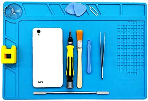 Blue Heat Insulation Repair Pad Soldering Scale Ruler Silicone Anti Static Mat