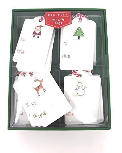 Rae Dunn 20 Count Gift Tags Holiday Christmas Icons Santa Reindeer Snowman Tree