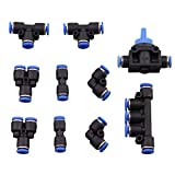 Dernord Push To Connect Fittings - 4mm or 5/32 Combo Push Fittings Kit 2 Splitters+2 Elbows+2 Tee+2 Straight+1 Manifold+ 1 Hand Valve Set of 10 Plastic
