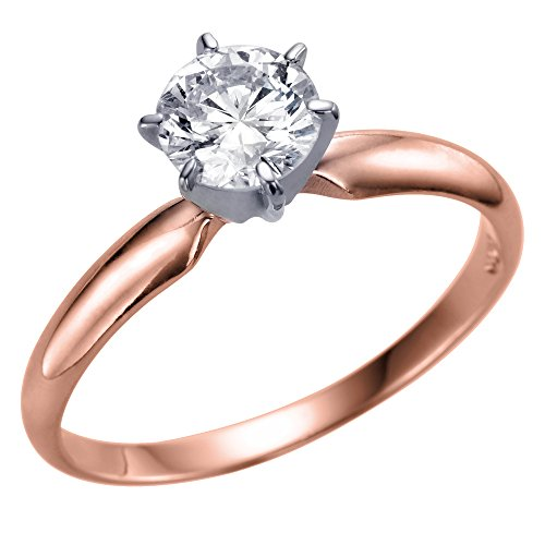Christmas Gift Sale Real 0.42 CT D VS2 Rothem Single Solitaire Diamond Engagement Ring Round Cut with 14K Rose Gold Any Size 10449016 from Rothem Collection
