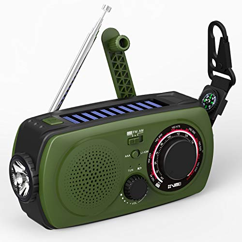 Emergency Weather Solar Hand Crank Portable Radio-VMEI NOAA Weather Radio with AM/FM,2300mAh Power Bank USB Charger,Flashlight,SOS Alarm.for Household and Outdoor Emergency Device(Green). (Usb Hand Crank Radio)