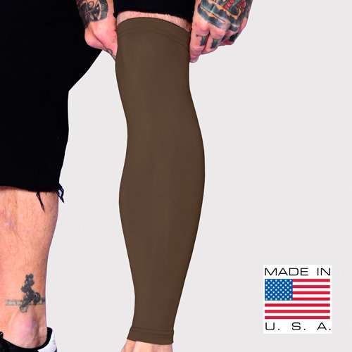 Tat2X Ink Armor Premium Full Leg Tattoo Cover Up Sleeve - No Slip Gripper - U.S. Made - Brown Town - ML (Single Leg Tattoo Cover up Sleeve)
