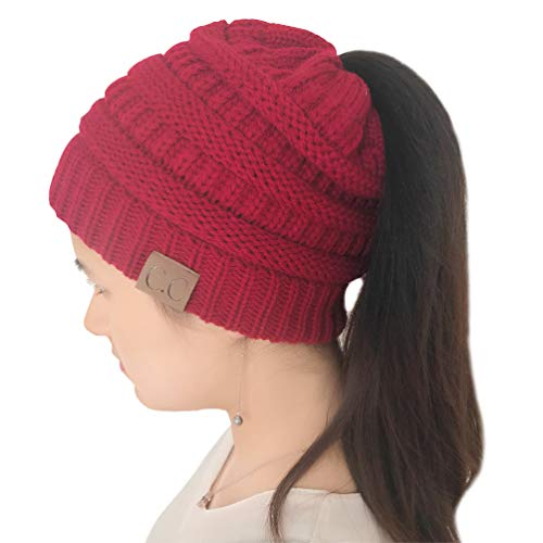 MissPretty Beanie for Women Hair and Tail Winter Knit Cup Ponytail Warm Stretech Cable Knit Hat
