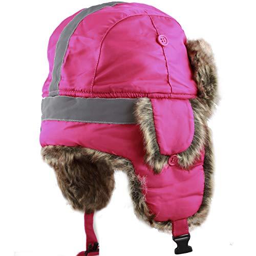 Faux Fur Safety Reflective Aviator Kids Trapper Hat Snow Ski Trooper Winter Cap (Kids, Hot Pink)