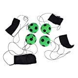 NUOBESTY Bouncy Balls Children's Fitness Ball Party Bag Fillers Jumping Balls Kids Return Rebound Ball Sports and Leisure Decompression Mini Football Toys with Wrist Straps - 4pcs, Green