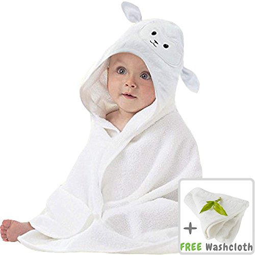 Organic Washcloth Set - Organic Bamboo Baby Hooded Towel with Bonus Washcloth | Ultra Soft and Super Absorbent Toddler Hooded Bath Towel with Cute Lamb Face Design | Great Infant/Newborn Shower Present | Gender Neutral