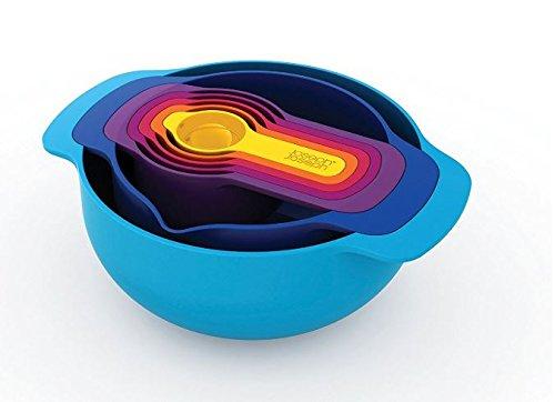 Joseph Joseph 40033 Nest 7 Nesting Bowls Set with Mixing Bowls Measuring Cups, 7-Piece, Multicolored