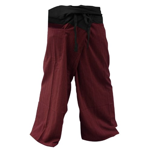 2 Tone Thai Fisherman Pants Yoga Trousers, Burgundy/Charcoal, One Size Fits Most