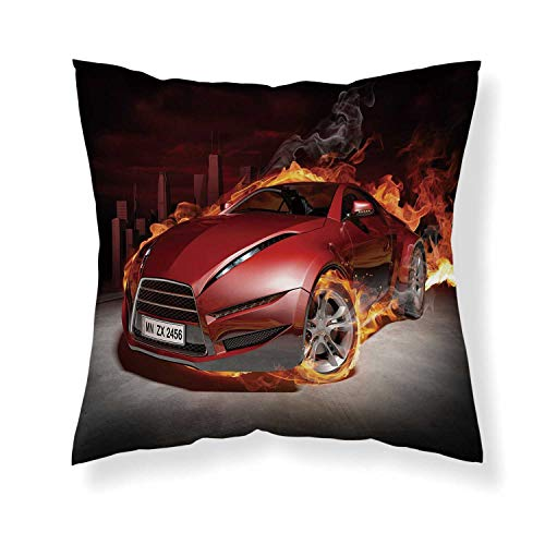 YOLIYANA Cars Comfortable Throw Pillow,Red Sports Car Burnout Tires in Flames Blazing Engine Hot Fire Smoke Automobile Decorative for Home Office