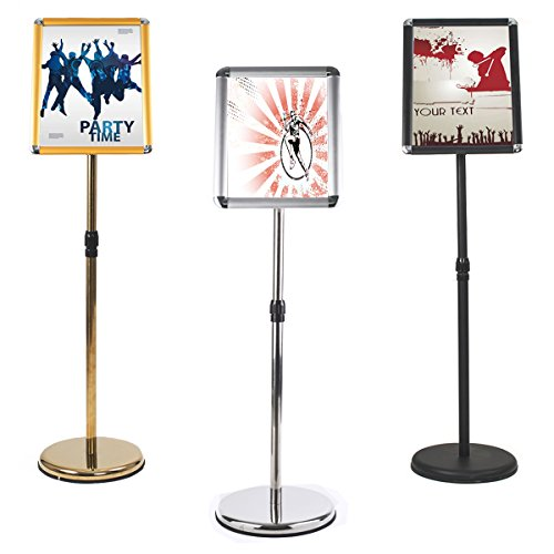 Pedestal Sign Holders (Reliancer Adjustable Stainless Steel Pedestal Sign Holder Poster Stand Aluminum Easy Snap Open Frame for 8.27 x 11.7 Inches Graphics Both Vertical and Horizontal View Sign Displayed Menu Hold (Black))
