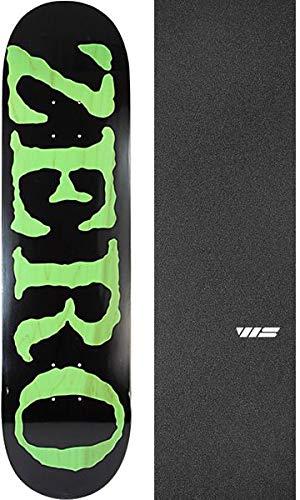 Zero Skateboards OG Font KO Black/Green Skateboard Deck - 8.25'' x 31.9'' with Jessup WS Die-Cut Griptape - Bundle of 2 Items by Zero Skateboards