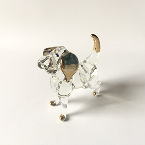 Dog Glass Blown Wild Crystal 22k Gold Home and Decor Handmade 100% collectibles Set Show Doll House Miniature Made In Thailand (Crystal Vase Dolphins)