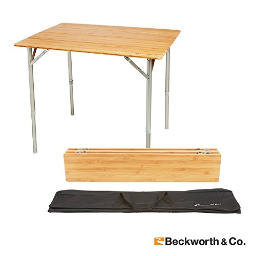 Beckworth & Co. SmartFlip Bamboo Portable Outdoor Picnic Folding Table with Adjustable Height & Carry Bag - (Foldable Wooden Picnic Table)