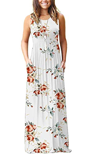 AUSELILY Womens Summer Floral Casual Maxi Maternity Prom Formal Plus Size Dresses for Women XL Rose White