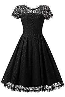 Adodress Womens Short 2017 Cap Sleeve Floral Lace Prom Formal Dresses Retro Vintage Swing Party Dress