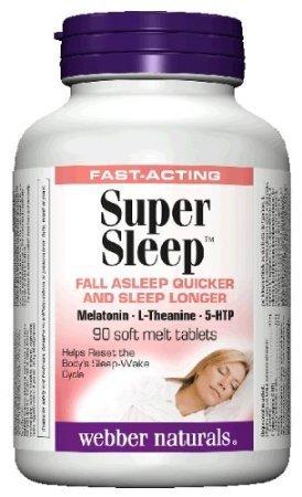 Webber Naturals Super Sleep Melatonin Plus L-Theanine & 5-HTP, 90 soft-melt (Melatonin Plus Vitamin)