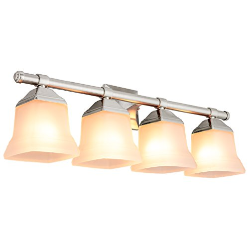 Sunlite 46064-SU Bathroom Vanity Light Fixture 25 Bell Shaped Frosted Glass, 4 Lights, Brushed Nickel Finish