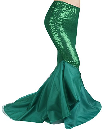 FEESHOW Womens Ladies Halloween Costume Sexy Cosplay Shiny Mermaid Maxi Long Skirts (L, Green) -