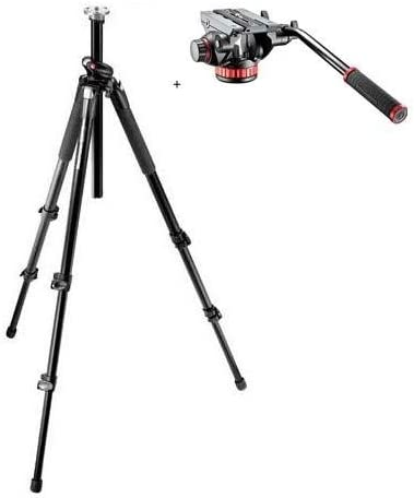 Renewed Manfrotto 055XPROB Black Aluminum Tripod with Manfrotto MVH502AH Pro Video Head with Quick-Release and Flat Base