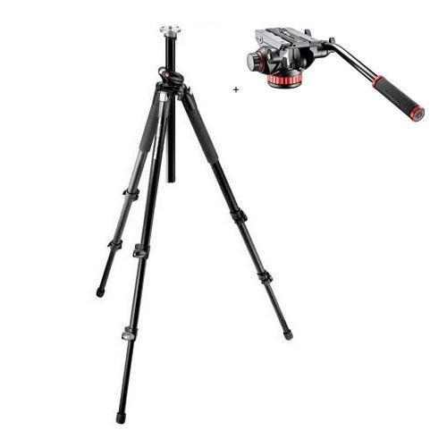 Manfrotto 055XPROB Black Aluminum Tripod with Manfrotto MVH502AH Pro Video Head with Quick-Release and Flat Base (Renewed) by Manfrotto