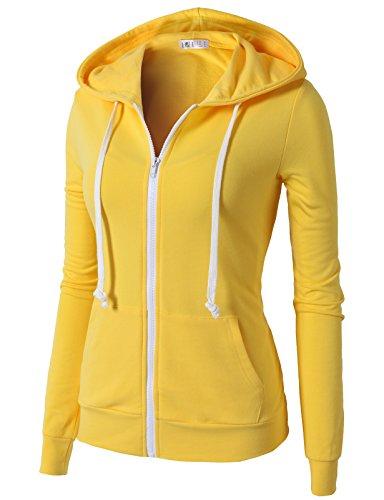 H2H Women Active Slim Fit Zip Up Long Sleeve Jogging Hoodie Jacket YELLOW US L/Asia L (CWOHOL020)